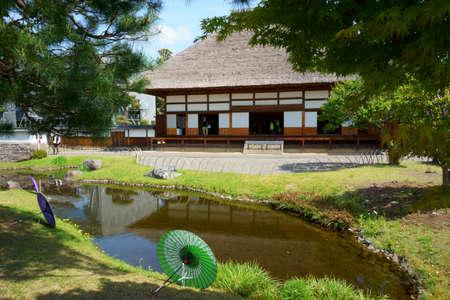 Ashikaga, Tochigi / Japan April 29, 2019: Ashikaga Gakko is Japan's oldest academic institution. Landscape, pond 에디토리얼