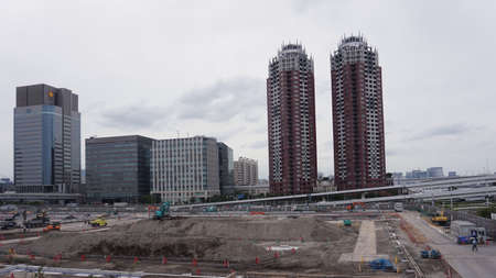 Tokyo / Japan - Sept 12 2018: Odaiba Construction Work, view of building construction site 에디토리얼