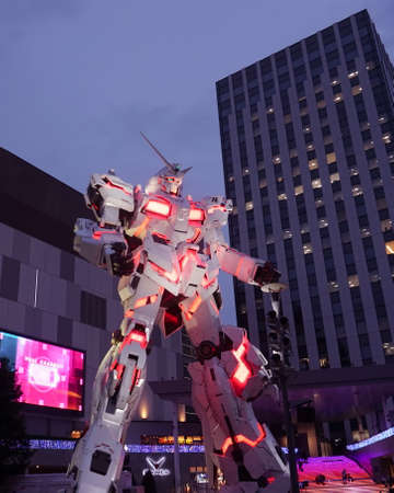 TOKYO, Japan - Sept 12 2018: Gundam gigantic robot statue in Odaiba