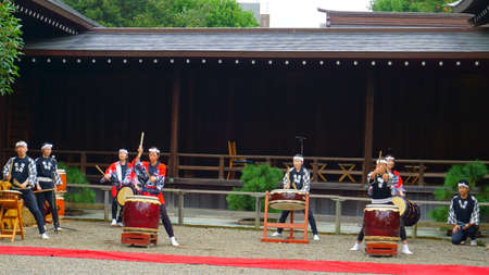 Tokyo / Japan - Sept 16 2018: Taiko Drummers. Yasukuni Shrine is a Shinto shrine located in Tokyo that commemorates Japan's war dead