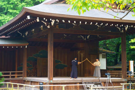 Tokyo / Japan - Sept 16 2018: Martial arts demonstrations. Yasukuni Shrine is a Shinto shrine located in Tokyo that commemorates Japan's war dead