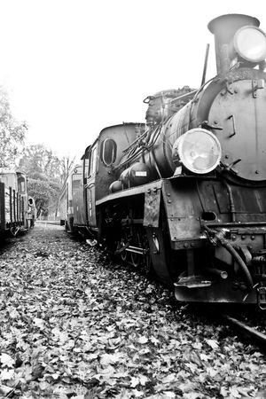 part of old steam train in black and white Standard-Bild