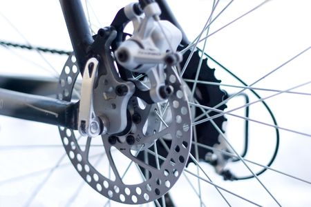 Part of Mountain Bike brake disc in close up