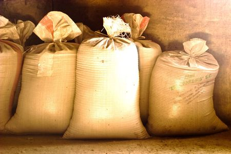 old bags of grain stored for many years photo