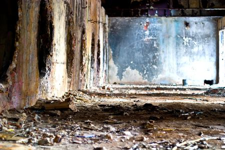 Wide angle view of an old wall abandoned factory building  Stock Photo - 6619898
