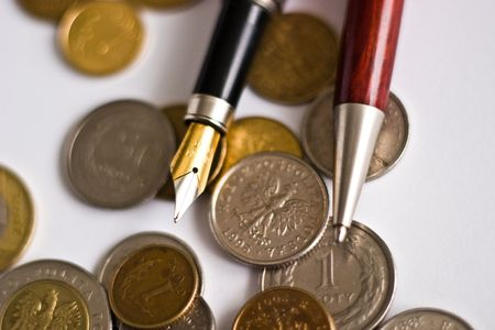 uncirculated: Close-up of an uncirculated polish curency coins on white   Stock Photo