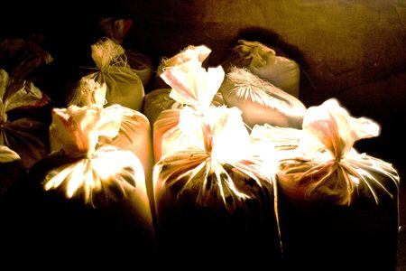 old bags of grain stored for many years Stock Photo - 6722549