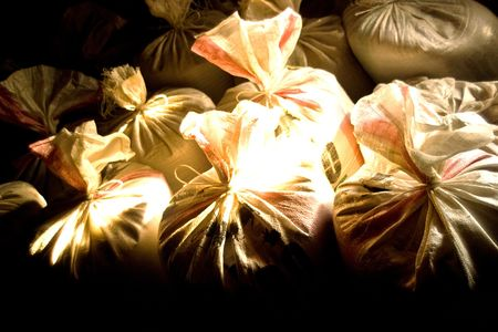 old bags of grain stored for many years Stock Photo - 6723024