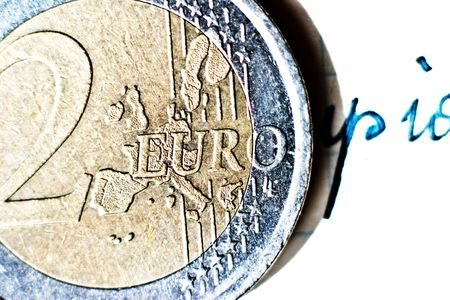 uncirculated: Close-up of an uncirculated euro cents coin
