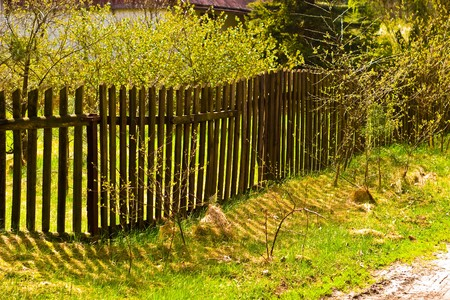Old concrete boundary fence with nails on sunny day Stock Photo - 6936810