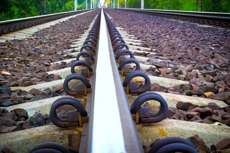 rapid steel: view of the railway track on a sunny day