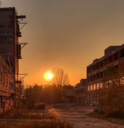 abandoned warehouse: Ruins of a very heavily polluted industrial factory, the place was known as one of the most polluted towns in Europe.