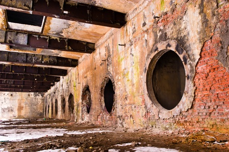 abandoned factory: Ruins of a very heavily polluted industrial site, 1890s the place was known as one of the most polluted towns in Europe. Stock Photo