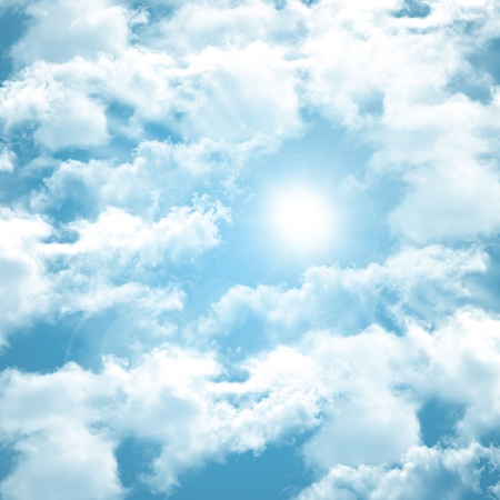 occurring white sun behind the clouds on a warm evening Stock Photo - 8724734