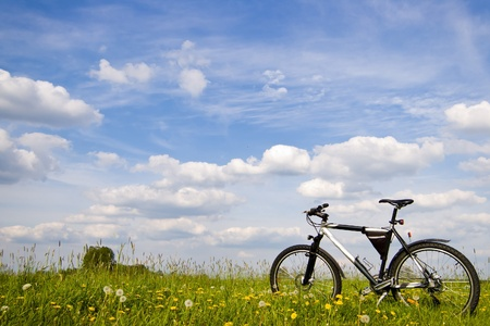 mountain bicycle: bici di colore, piccole parti della bici in una giornata di sole Archivio Fotografico