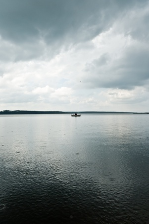 cloudy: blue lake with cloudy sky, nature series Stock Photo