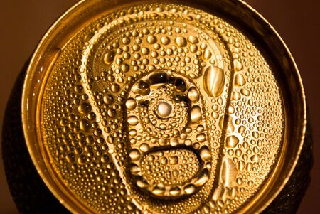 golden aluminum drink can, metal can, object series photo