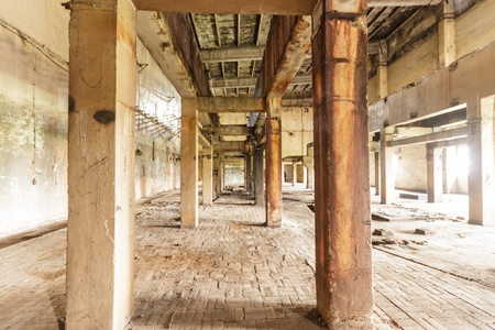 wide angle view of an old wall abandoned factory building Stock Photo - 15131594