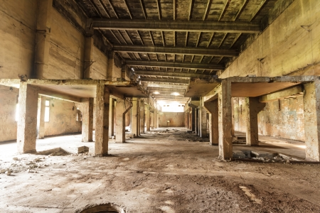 wide angle view of an old wall abandoned factory building Stock Photo - 15131612