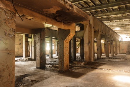wide angle view of an old wall abandoned factory building Stock Photo - 14784931