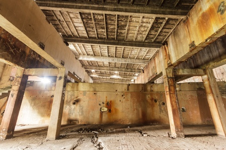 wide angle view of an old wall abandoned factory building Stock Photo - 15131603