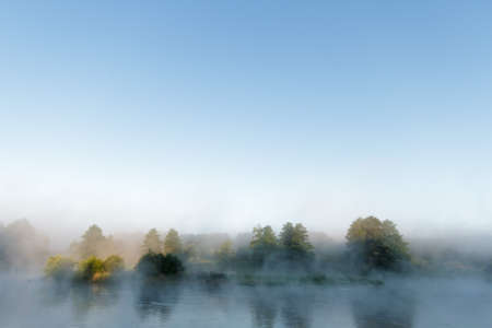 morning fog over a lake, nature series photo