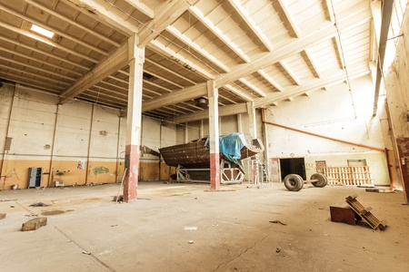 wide angle view of an old wall abandoned factory building Stock Photo - 15004577