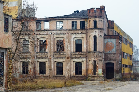 wide angle view of an old wall abandoned factory building Stock Photo - 16560877