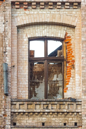 wide angle view of an old wall abandoned factory building Stock Photo - 16560787