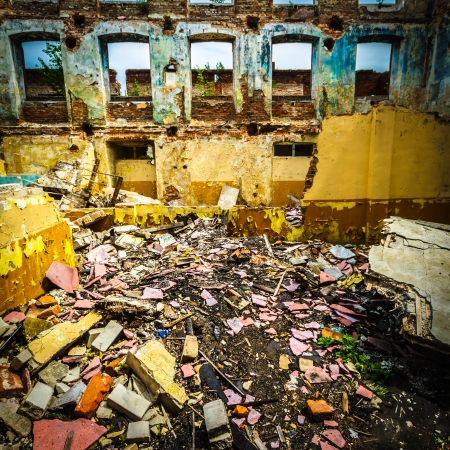 wide angle view of an old wall abandoned factory building Stock Photo - 16679942