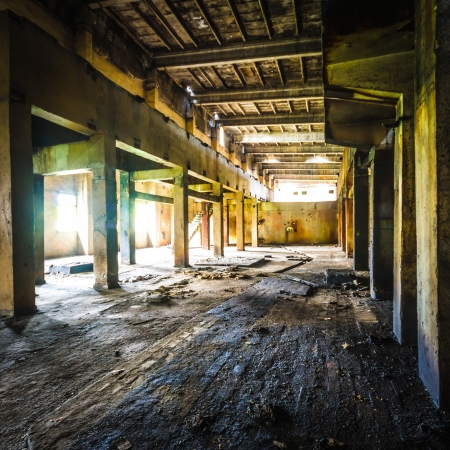 ruins of a very heavily polluted industrial factory, place was known as one of the most polluted towns in Europe Standard-Bild