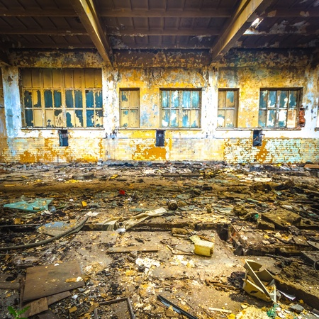 Discarded ruin with old windows and wall, industrial window in concrete wall Stock Photo - 17164906