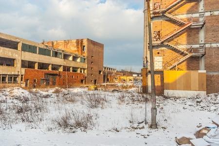 as one: ruins of a very heavily polluted industrial factory, place was known as one of the most polluted towns in Europe Editorial