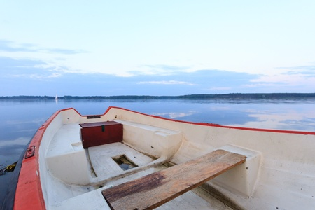 boat on the blue lake with cloudy sky, nature series photo