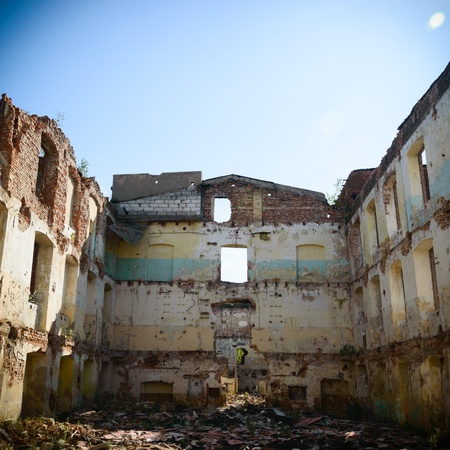 old building: ruins of a very heavily polluted industrial factory, place was known as one of the most polluted towns in Europe Stock Photo