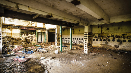 ruins of a very heavily polluted industrial factory, place was known as one of the most polluted towns in Europe photo