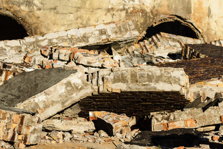 ruins, view of an old wall abandoned factory building Stock Photo - 22702655