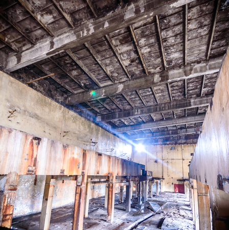 wide angle view of an old wall abandoned factory building photo