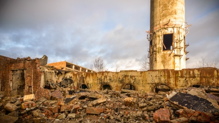 ruins of a very heavily polluted industrial factory, place was known as one of the most polluted towns in Europe Stock Photo