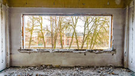 discarded ruin with old windows and wall, industrial window in concrete wall Stock Photo - 26650879