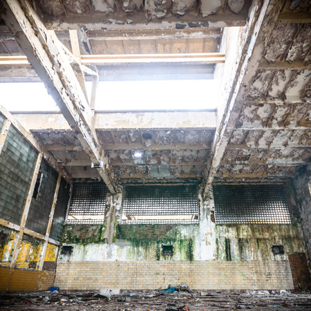 as one: ruins of a very heavily polluted industrial factory, place was known as one of the most polluted towns in Europe Stock Photo