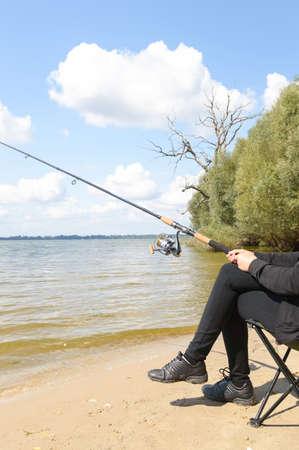 sportfishing: fishing, fishing in a lake, nature series