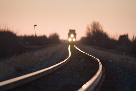 complicated journey: view of the railway track, industrial sereis Stock Photo
