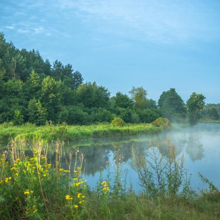 jezior: krajobraz naturalny mglisty rzeki, charakter serii Zdjęcie Seryjne