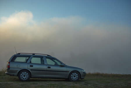 nature scenery: silver car in nature scenery, nature series Stock Photo