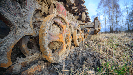 heavy duty: old heavy duty construction equipment, industrial series Stock Photo