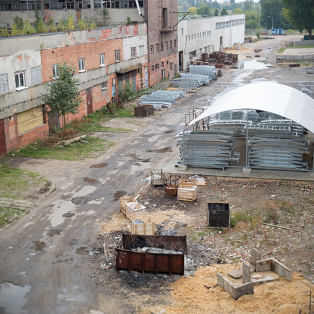 ruins of a very heavily polluted industrial factory, industrial series Stock Photo - 74969126