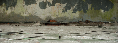 empty warehouse: ruins of a very heavily polluted industrial factory, industrial series