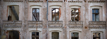 vandalism: ruins of a very heavily polluted industrial factory, industrial series