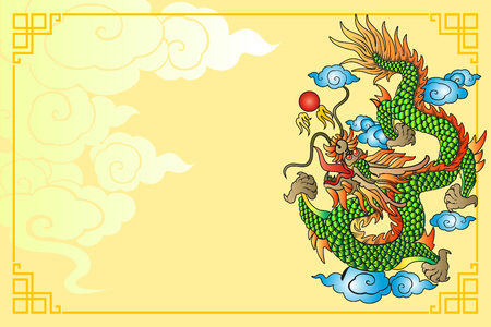 rococo style: Vector vintage Chinese dragon engraving with retro ornament pattern in antique rococo style decorative design Illustration